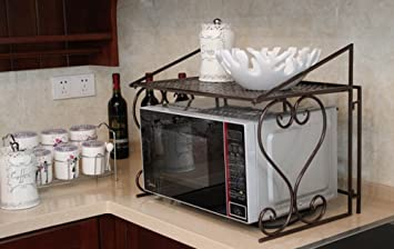 Amazon.com: Dazone Metal Microwave oven shelf Kitchen Counter and ...