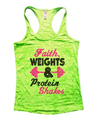 740d212b Amazon.com: Funny Threadz Womans Burnout Tank Top Faith Weights and Protein  Shakes Christian Shirt: Clothing