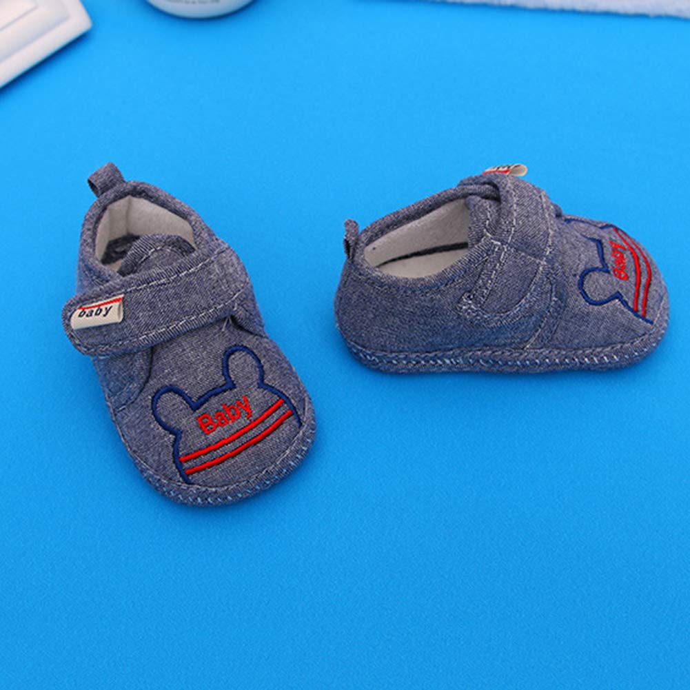 Alamana Cute Cartoon Magic Tape Baby Infant Anti-Slip Soft Sole Prewalker Toddler Shoes 9-12M Denim 15