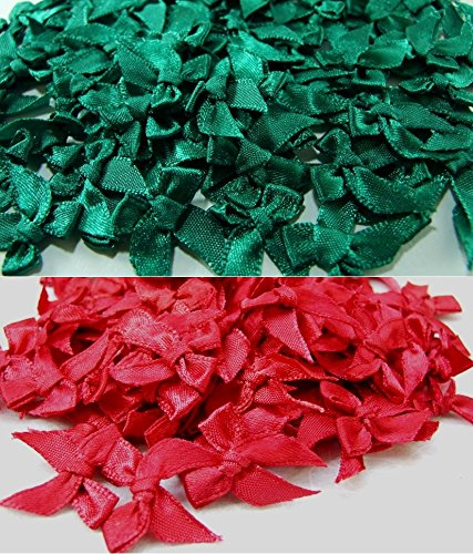 ICRAFY 100 Satin Ribbon Bows Christmas Style Tiny Bows Mini Embellishment Craft Artificial Applique Wedding Dark green & Dark Red Color size ribbon width 7 mm. ()