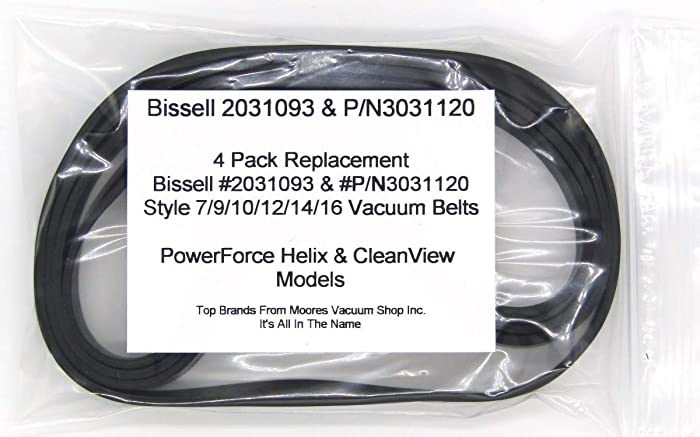 Bissell PowerForce Helix & CleanView #203-1093, P/N3031120 & #32074 Style 7/9/10/12/14/16 Replacement Vacuum Belts 4 Pack