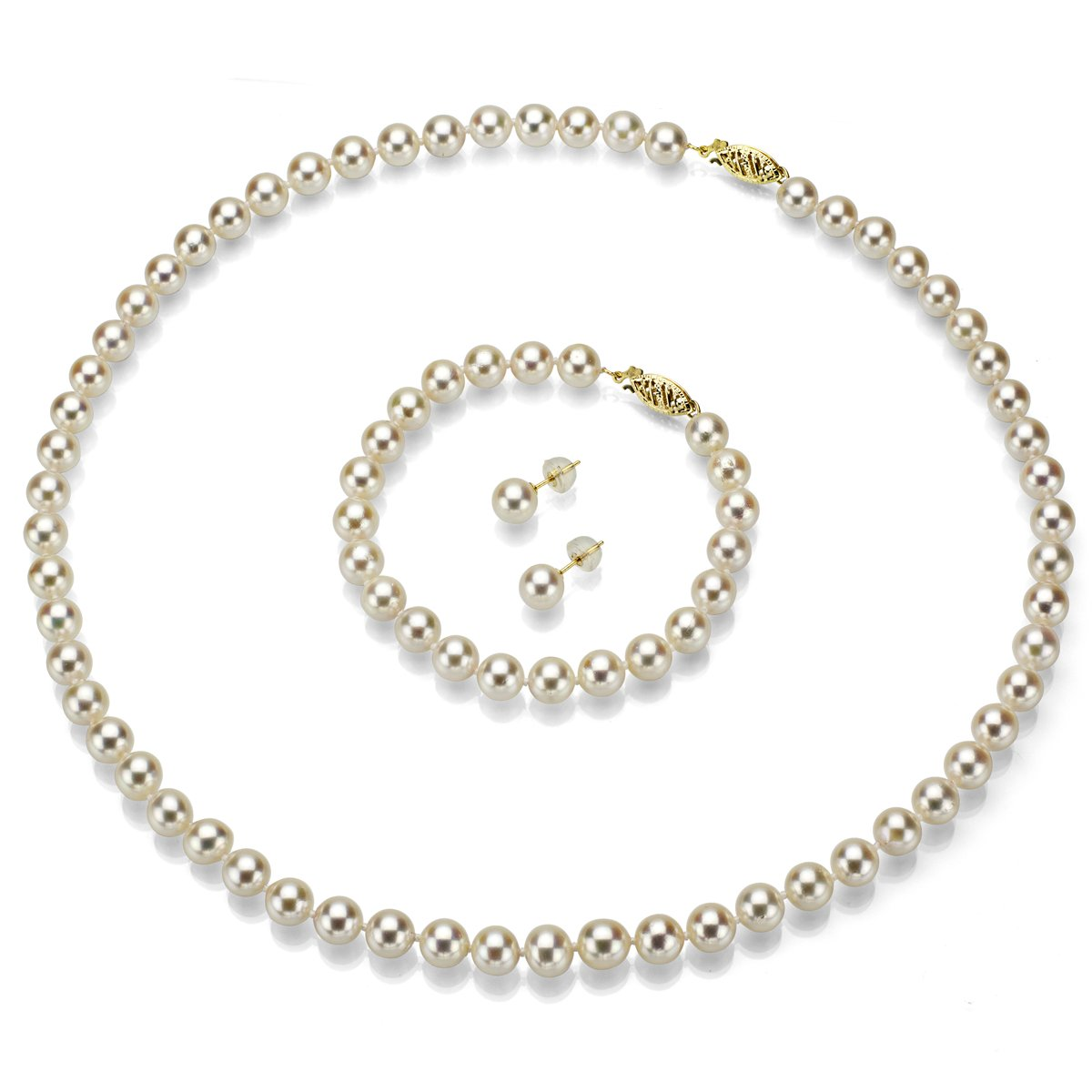 Cultured Japanese Akoya Pearl Necklace White Pearl Bracelet and 14K Yellow Gold Stud Earrings Set