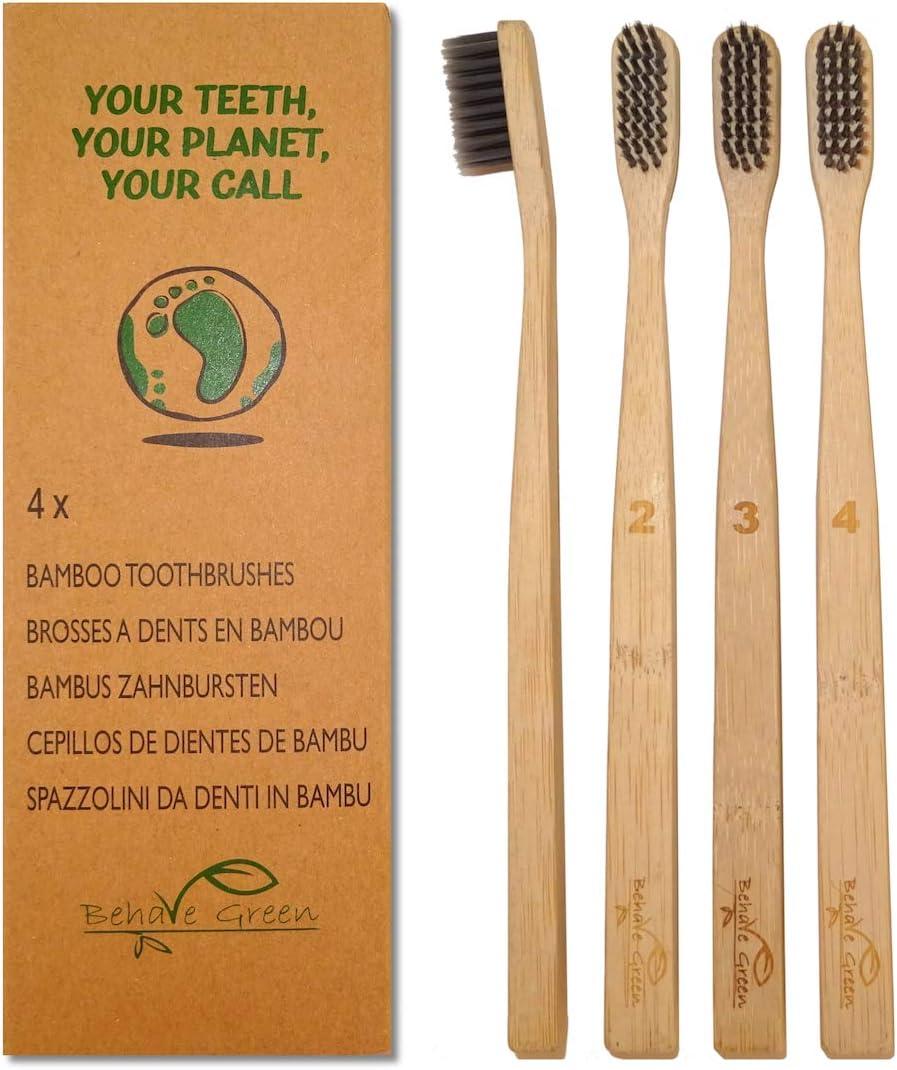 4 Cepillos de dientes de bambú orgánico-Alternativa natural y ...