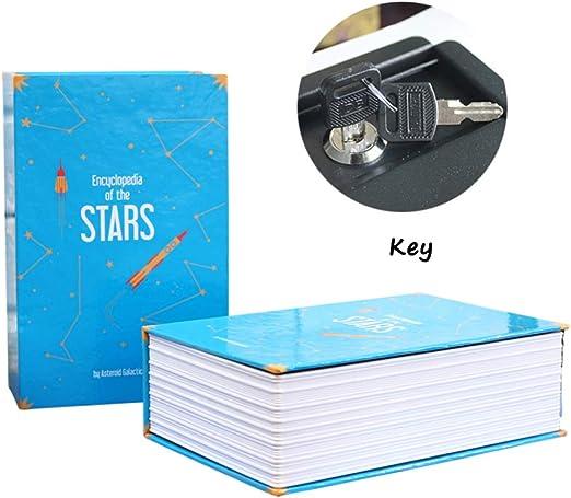 ZZ Caja Fuerte De Libros Caja Fuerte Portátil con Cerradura De Combinación De 3 Dígitos,Candado,Libro Dinero Oculto,Blue-Key: Amazon.es: Hogar