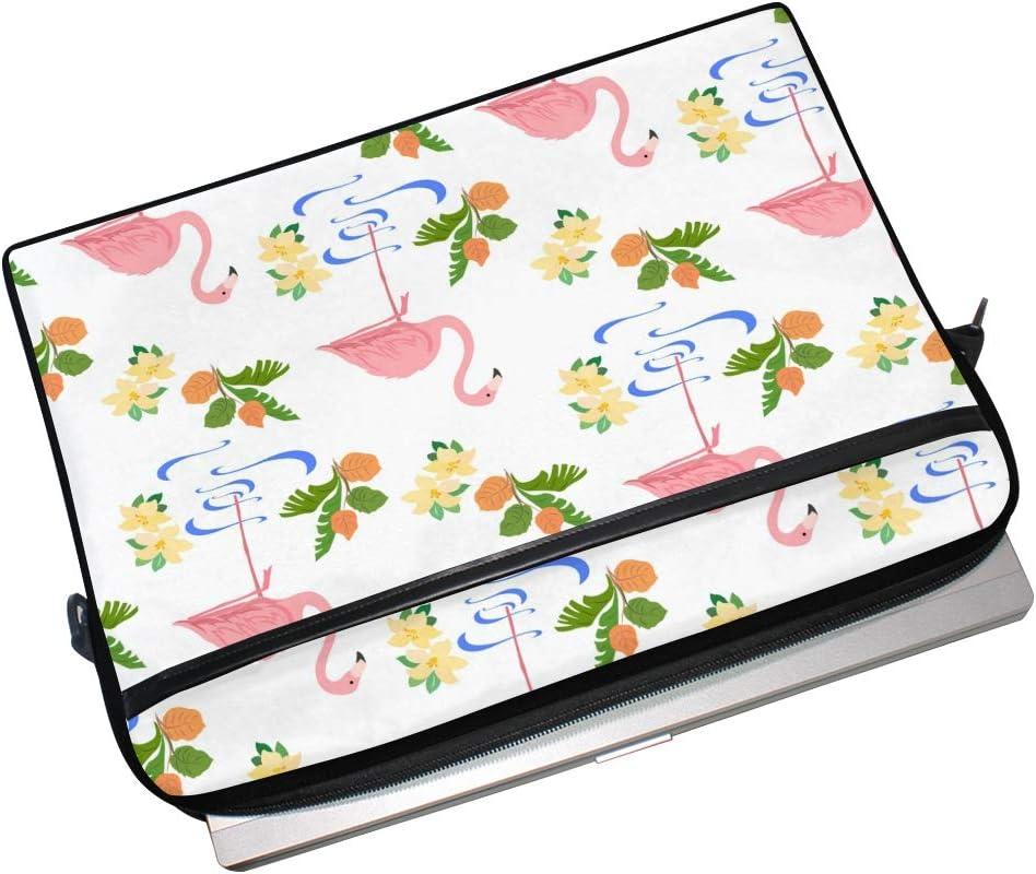 Multi-Functional Notebook Sleeve Carrying Case with Adjustable Shoulder Strap MNSRUU 14.5-15.4 Inch Laptop Case,Flowers Flamingos Shoulder Bag