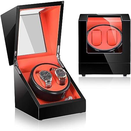 Cajas giratorias Caja de enrollador de reloj automático for 2 relojes con caja de exhibición Estuche de almacenamiento Almohadas de cuero Motor silencioso 5 modos de rotación, pintura de piano, lámpar: Amazon.es: