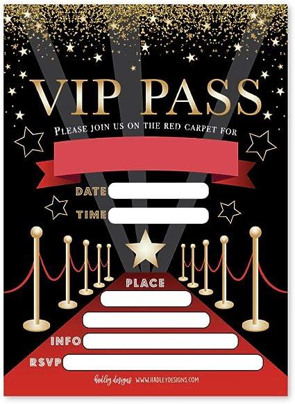 Amazon.com: 25 invitaciones de fiesta VIP Movie Night, Star ...