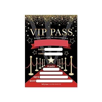 25 VIP Movie Night Star Faux Glitter Ticket Party Invitation Hollywood Rockstar Oscar Themed Kids