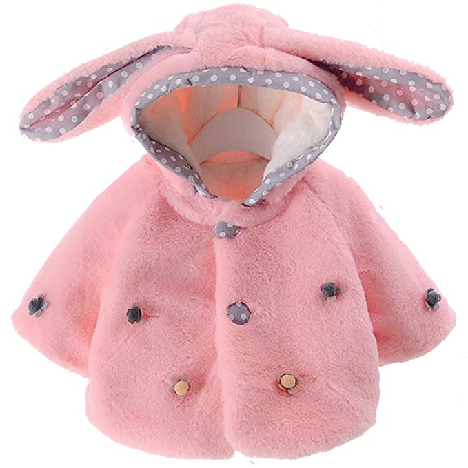 500fbf564 Amazon.com  Baby Girl Fur Winter Warm Coat Cloak Jacket Thick Warm ...