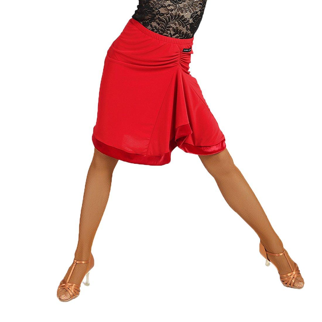 SCGGINTTANZ G2026 Latino Moderno Ballo da Danza Professionale Le gonne di Bordo in Velluto con Superficie Pieghevole Irregolare