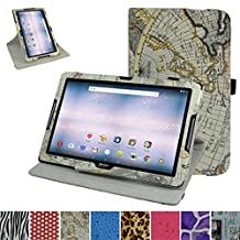 "Acer Iconia One 10 B3-A30 Rotating Case,Mama Mouth 360 Degree Rotary Stand With Cute Lovely Pattern Cover For 10.1"" Acer Iconia One 10 B3-A30 Android Tablet, Map White"