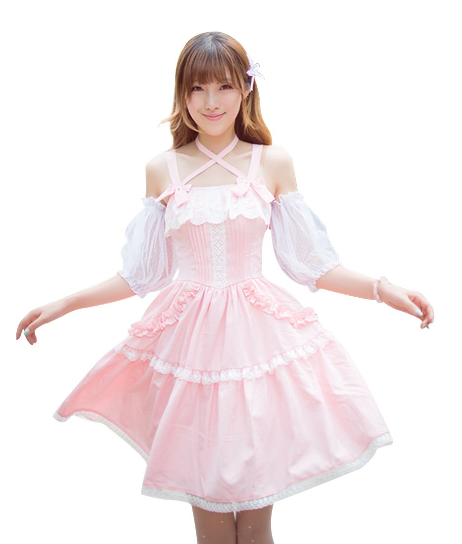 Nuoqi Women's Sweet Lace-Up Retro Lolita Dress Summer Chiffon Fairy Dress Pink