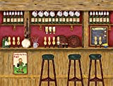 10.5-Feet wide x 8-Feet high.Prepasted robust wallpaper mural of a photo of an: Irish Pub.From an original artwork of Ruth Baker.Our murals are easy to install remove and reuse (hang again).See video.