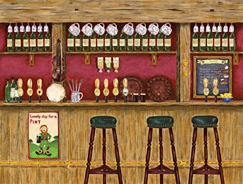 10.5-Feet wide x 8-Feet high.Prepasted robust wallpaper mural of a photo of an: Irish Pub.From an original artwork of Ruth Baker.Our murals are easy to install remove and reuse (hang again).See video. by Muralunique
