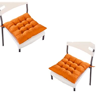 homeyusa Pask of 2 Chair Cushions Pads Indoor Dining Chair Pad Seat Cushion with Ties (Orange)
