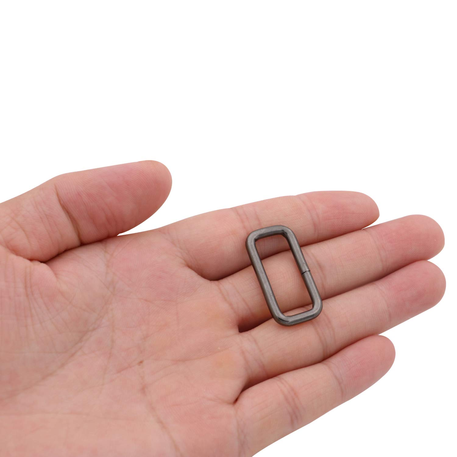 BIKICOCO Rectangle Buckle Ring Metal Non Welded 1x0.4 Inch Inside Dimensions Gunmetal Pack of 10