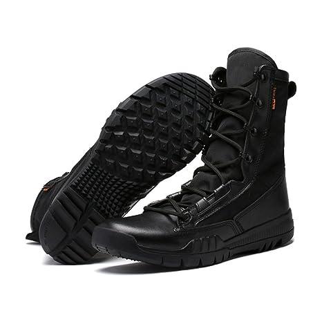 GLSHI Scarpe da uomo Canvas Spring Fall Stivali da combattimento Comfort Boots Trail Scarpa da running Stringata per lavoro atletico e sicurezza Outdoor Nero Marrone (Colore : B,…