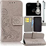 Samsung Galaxy S4 Case, Bonice 3 in 1 Accessory PU Leather Flower Pattern Flip Practical Book Style Magnetic Snap Wallet Case with Premium Multi-Function Design Cover + Stylus Pen + Diamond White Rhinestone Antidust Plug, Grey