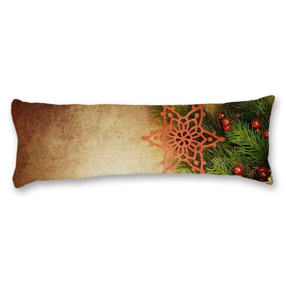 wonbye Wood Pattern Christmas Decorative Cotton Body Pillow Covers Cases With Double Sided 20''x54'',Home Bedroom Living Room Decor