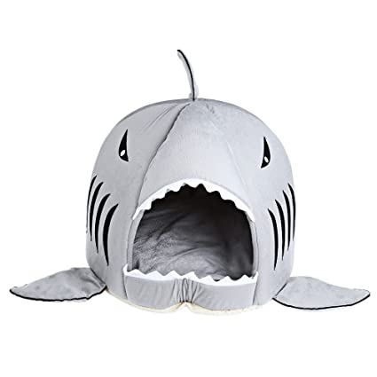 Shark Shape Cat Dog Warm Sleeping Bag Soft Washable Pet Nest Dog Sleeping Bed with Removable
