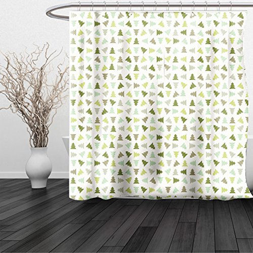 HAIXIA Shower Curtain Winter Little Triangular Xmas Pine Trees in Shades of Green Stylized Retro Holiday Elements - Shades Depp Johnny