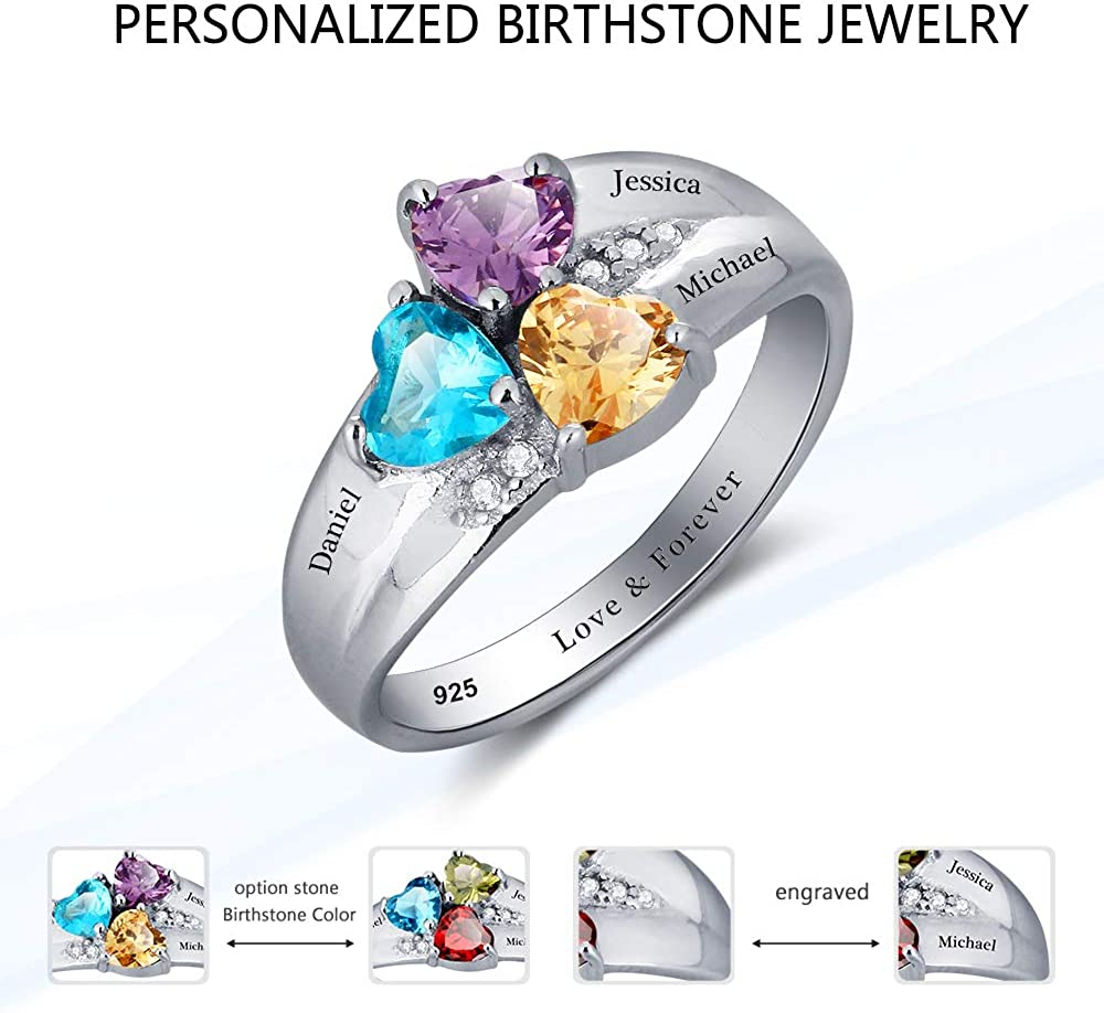 925 Sterling Silver Promise Ring Personalized Custom Engraved Name Ring with 3 Simulated Birthstones Customized Jewelry Gift for Birthday Christmas Day