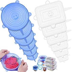 12 Pack Silicone Stretch Lids, Food Grade Reusable Durable, Various Sizes and Shapes for Bowl, Jar, Cup, Flexible Lids Wrap Apply to All Kinds of Food Storage Container, Safe in Dishwasher & Freezer