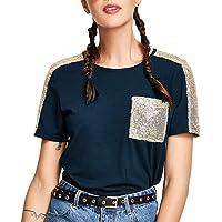 Beikoard_Ropa de mujer 2019 Primavera y Verano Camiseta de Lentejuelas de Moda Cuello Redondo Manga Corta Tops T-Short S-XL
