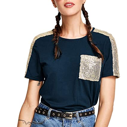 701640de91789 Amazon.com : Franterd Casual Tops Summer Contrast Sequin Pocket Short  Sleeve Round Neck Loose Fit T-Shirt Tops : Sports & Outdoors