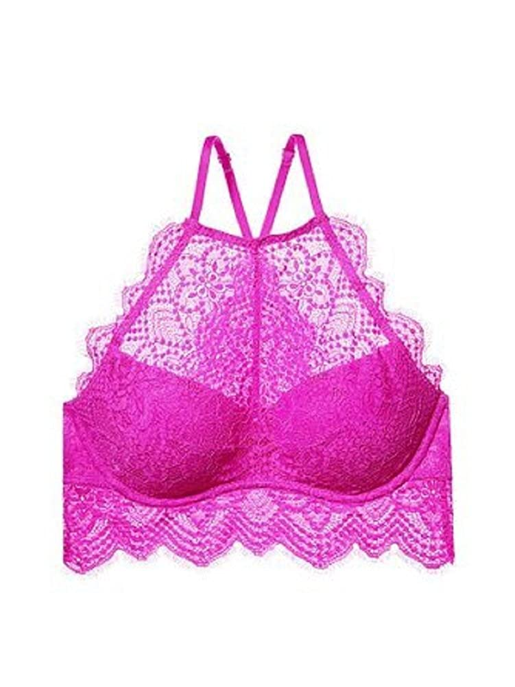 396f4c99b Victoria Secret Pink The Eyelash Lace High-Neck Push Up Bralette Bra S (D-DD)  Electric Orchid at Amazon Women s Clothing store