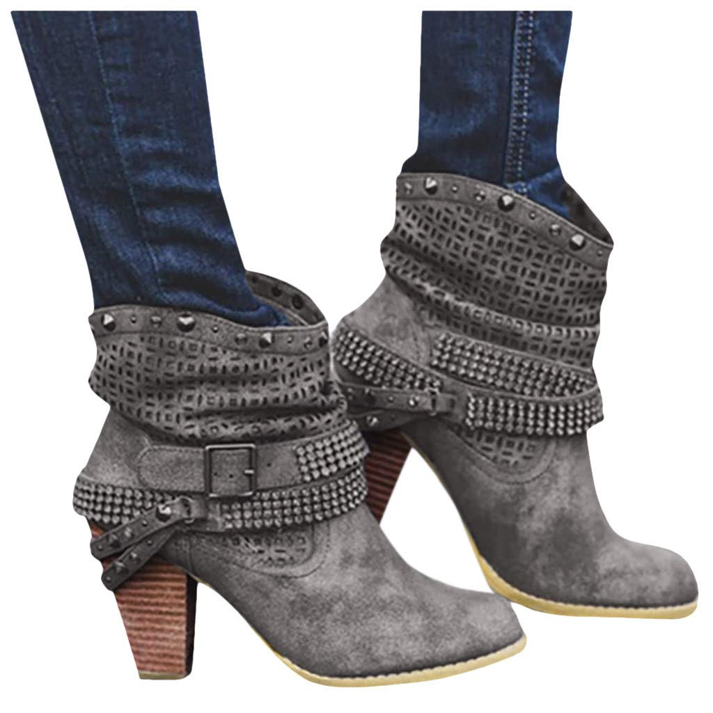 Women's Military Lace Up Buckle Combat Boots Ankle High Exclusive Credit Card Pocket Gray by Frunalte Women Shoes