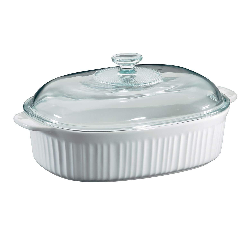 CorningWare 6002278 French White 4 Quart Oval Casserole W/Glass Cover (3-Pack)