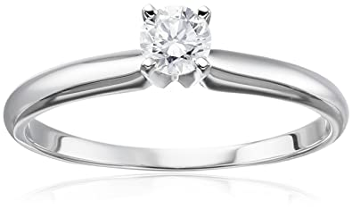 b615e947b671db 14k White Gold Round Solitaire Diamond Engagement Ring (1/4 cttw, H-I  Color, I2-I3 Clarity), Size 7 | Amazon.com