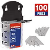 WORKPRO 100-pack SK5 Steel Utility Knife Blades with Dispenser