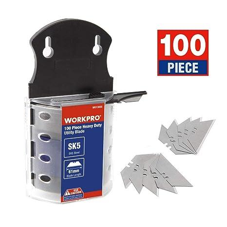 WORKPRO 100 Hojas de Recambio Uso Universal para Cuchillo Cúter Cortador Acero Inoxidable