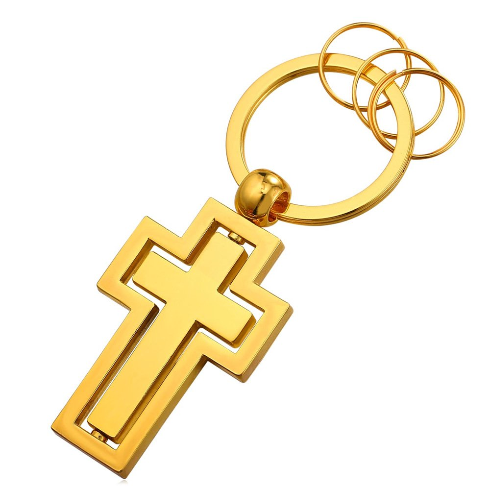 Cross Key Tag 18K Gold Plated Metal Key Chain Keyrings for Men (4 Key rings)