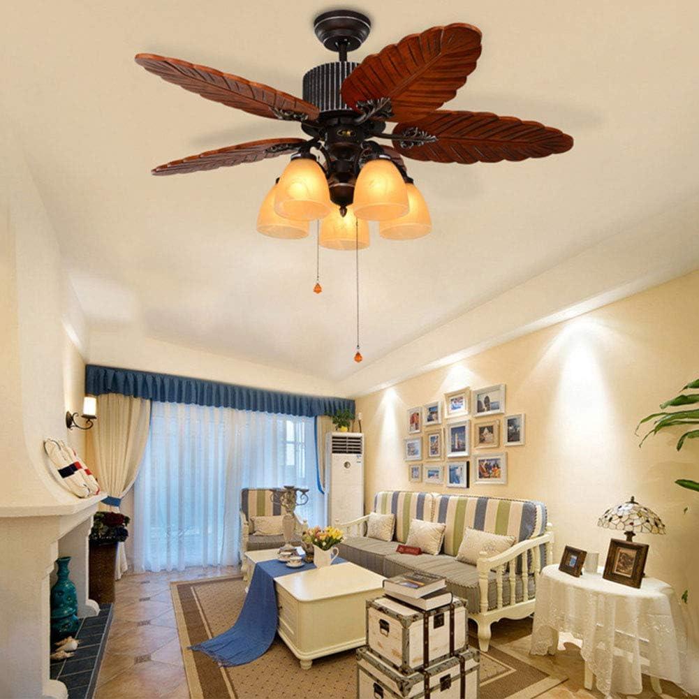 Estilo mediterráneo Ventilador de techo con luz de la lámpara 48 pulgadas Ventilador con 5 Wood Blades, principal Habitación Sala de gama alta del estilo de Tiffany Luz Ventilador,Pull control