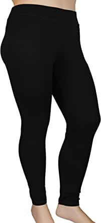 Stylzoo Women's Plus Size Comfy Stretch Ankle Length Leggings Yoga Stretch Pants Black