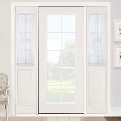 RYB HOME French Door Window Curtain Sheer Sidelight Curtains For Front Back