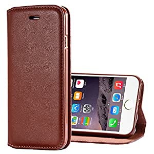 Vintage Leather Casual Invisible Magnetic Flip Case for Apple iphone 6 i6 4.7 Elegant Plain Luxury Stand Card Slots Black Cover --- Color:Black