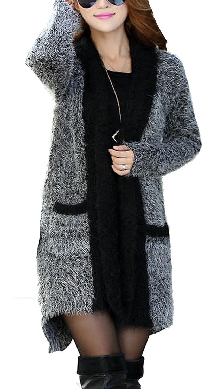 Helan Women's Long Mohair Knitting Cardigan Coat Grey