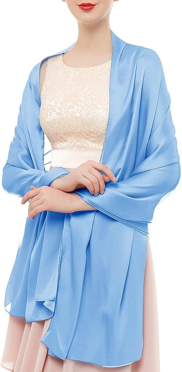 90cm Stola Schal Seidenschal Festlich Hochzeit f/ür Kleider in verschiedenen Farben Light Blue bridesmay Seide Halstuch 180