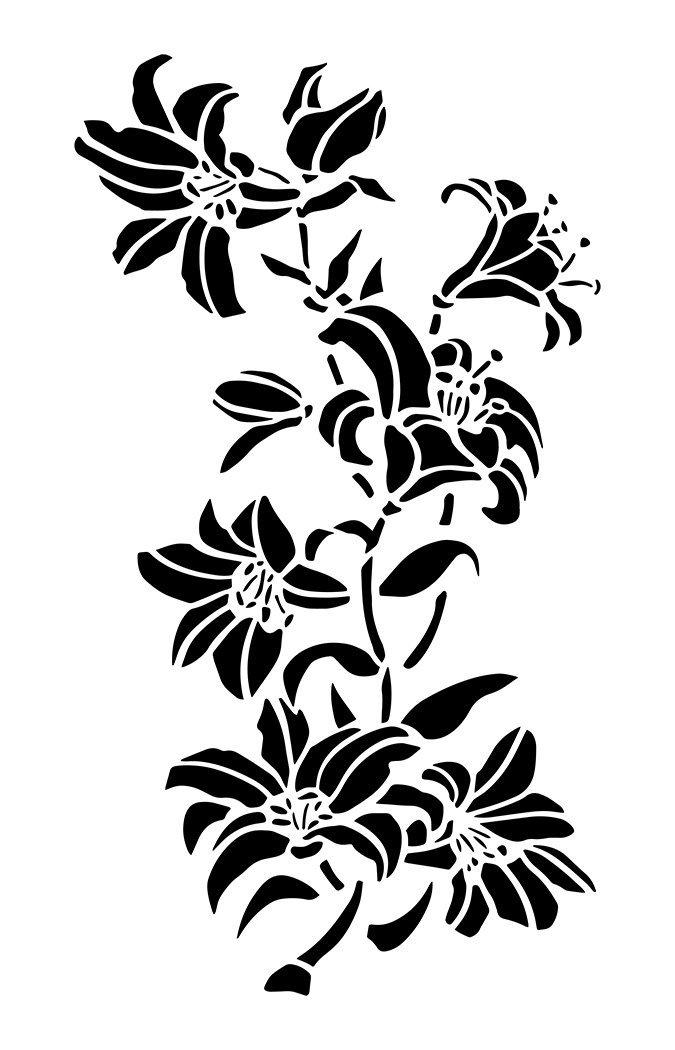 Plantillas de lirio para pintar en la pared, para aerógrafo, flores, lirios, 3 unidades de 35,5 cm: Amazon.es: Hogar