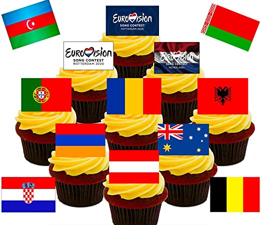Made4you Eurovision Party Edible Cupcakefairy Cake Toppers Stand Up Wafer Cake Decorations Includes All Countries Pack Of 48