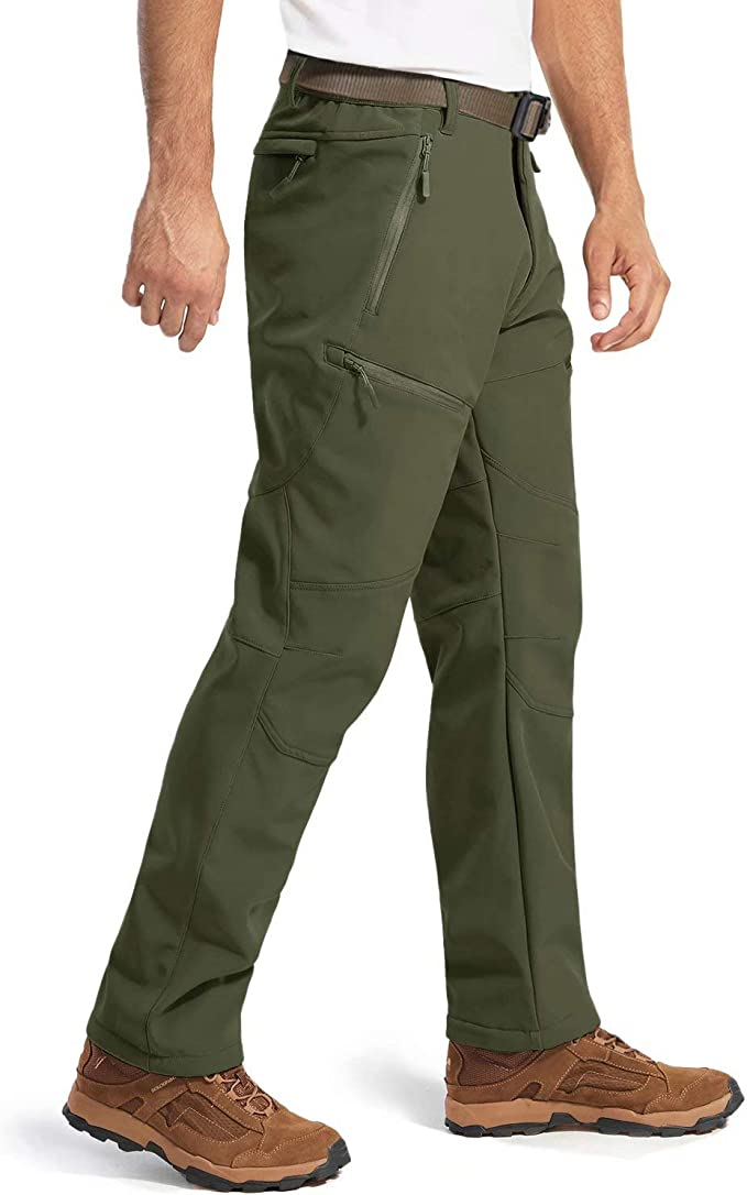MAGCOMSEN Mens Winter Tactical Pants with 8 Pockets Softshell Water Resistant Fleece Lined Cargo Hiking Work Pants