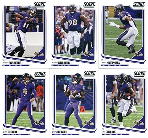 2018 Score Baltimore Ravens Veteran Team Set of 10 Cards: Joe Flacco(#23), Danny Woodhead(#24), Terrell Suggs(#25), Mike Wallace(#26), Justin Tucker(#27), Jeremy Maclin(#28), Alex Collins(#29), Breshad Perriman(#30), Brandon Williams(#31), Marlon Humphrey(#32)