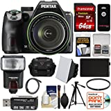 Pentax K-70 All Weather Wi-Fi Digital SLR Camera & 18-135mm WR Lens (Black) 64GB Card + Case + Flash + Battery + Tripod + Filter + Kit