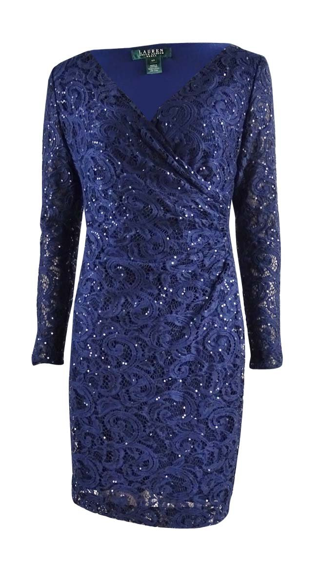 Lauren Ralph Lauren Womens Petites Sequined Lace Overlay Cocktail Dress Navy 2P