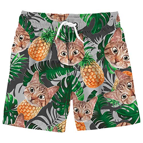 Uideazone Boys 3D Printed Hawaiian Pineapple Cat Quick Dry Swimming Trunks Bathing Suit for Beach Casual Summer ()
