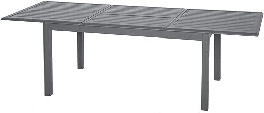 Hespéride - Mesa de jardín Extensible Azua – Aluminio – 10 Personas – Gris Grafito: Amazon.es: Jardín